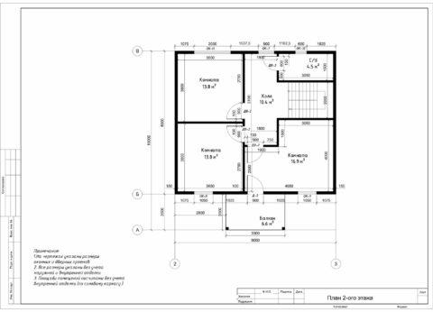 Каркасный дом по проекту КД 010, г. Смоленск, СНТ «ДРУЖБА» - План 2-ого этажа