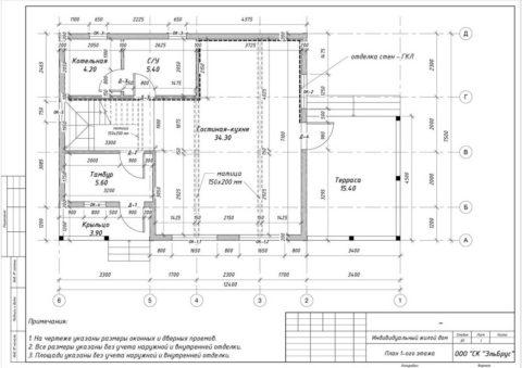Каркасный дом по проекту КД 029, Полянское СП, СНТ «Родничок» - План 1-ого этажа