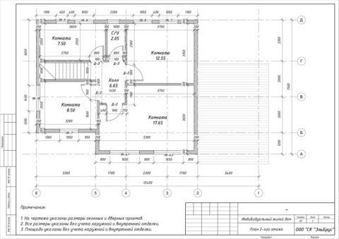Каркасный дом по проекту КД 029, Полянское СП, СНТ «Родничок» - План 2-ого этажа