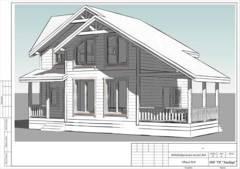 Каркасный дом по проекту КД 029, Полянское СП, СНТ «Родничок» - Общий вид