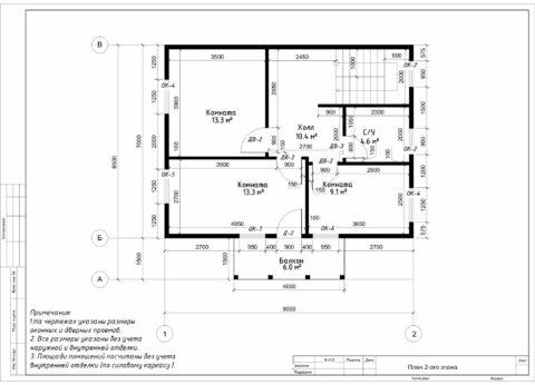 Каркасный дома по проекту КД 048, Смоленская область, д. Кореневщина - План 2-ого этажа