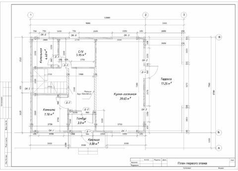 Каркасный дом по проекту КД 066, Смоленский район, д. Станички - План 1-ого этажа