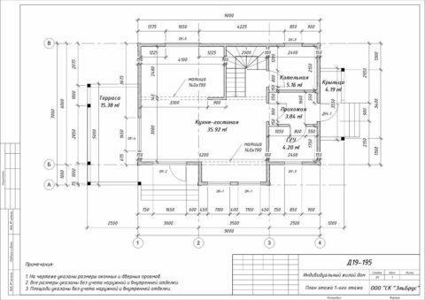 Каркасный дом по проекту КД 018, Ленинградская область, ЗАО «Плодоягодное» - План 1-ого этажа