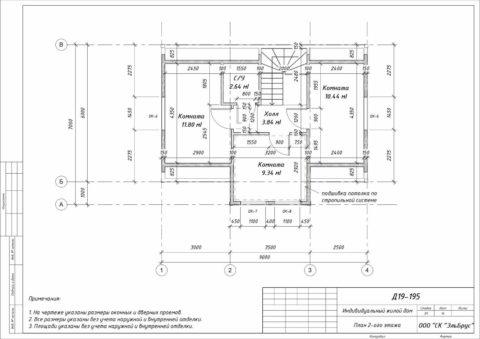 Каркасный дом по проекту КД 018, Ленинградская область, ЗАО «Плодоягодное» - План 2-ого этажа