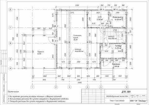 Каркасный дом по проекту КД 029, Ленинградская область, Массив «Орехово-Северное» - План 1-ого этажа