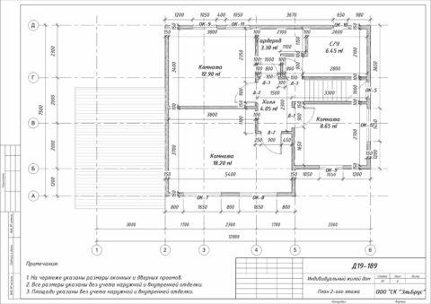 Каркасный дом по проекту КД 029, Ленинградская область, Массив «Орехово-Северное» - План 2-ого этажа