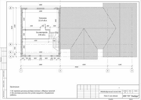 Каркасный дом по проекту КД 060, Ленинградская область, ЖК Уварово - План 2-ого этажа