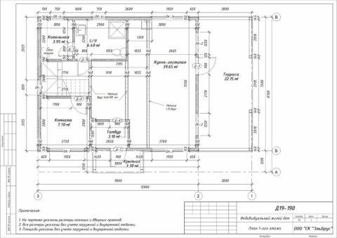 Каркасный дом по проекту КД 066, Ленинградская область, д. Большое Верево - План 1-ого этажа