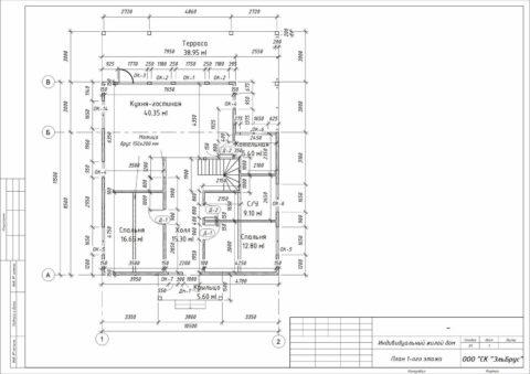 Каркасный дом по проекту КД 072, Ленинградская область, д. Уварово - План 1-ого этажа