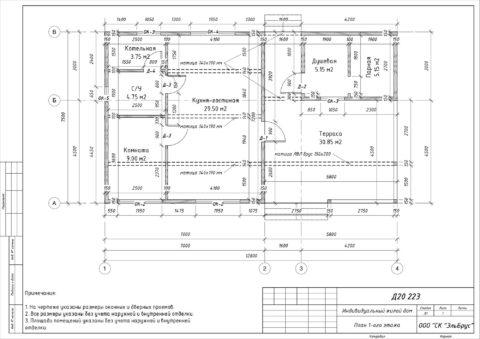 Каркасная баня по индивидуальному проекту, Ленинградская область, Всеволожский район, КП «Юкковское» - План 1-ого этажа