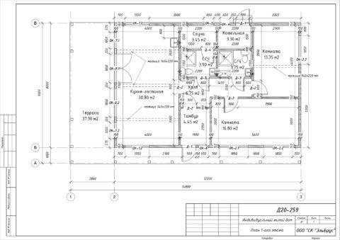 Каркасный дом по проекту КД 019, Ленинградская область, Выборгский район, СНТ «Молодежное» - План 1-ого этажа